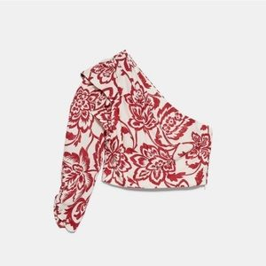 Zara Floral Asymmetric Top